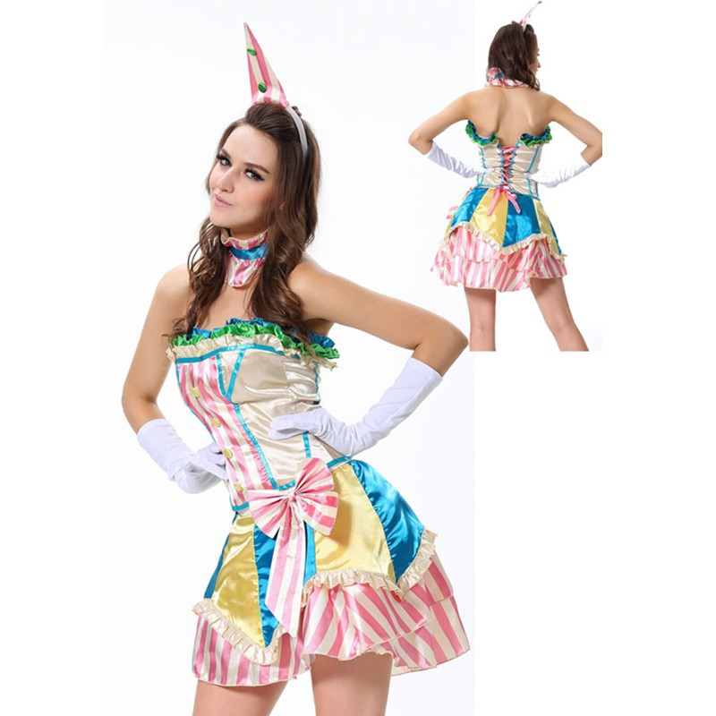 Fever Boutique Colorful Bustle Skirt Collar and Mini Hat Gloves Clown Lovely Grownup Sexy Costume Halloween Clown Costume L1320 L1320 (2) 800x800