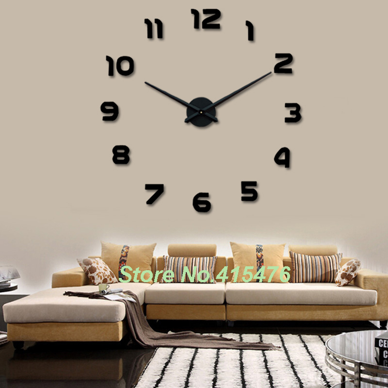 Large wall clock 3d sticker big watch home decor unique for Trendy home accessories