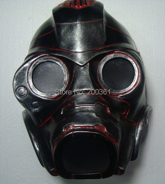 Resin handmade military gas mask silver Training helmet Fancy Horror ghost CS protection Head prop men Costume Halloween Party - happy123store store