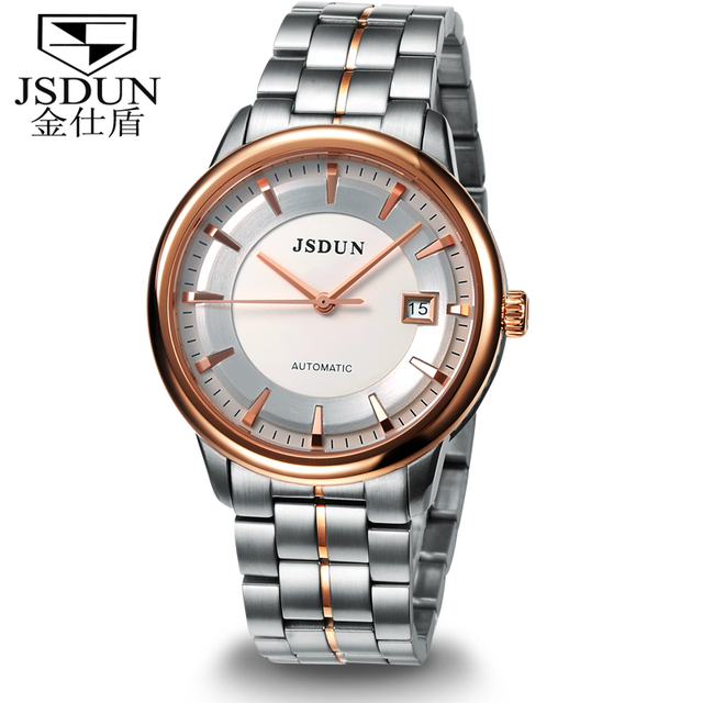 Classical JSDUN Vintage Date Analog Top Grade Stainless Steel Strap Dress Wrap Casual Self Wind Men's Mechanical Watch  8753