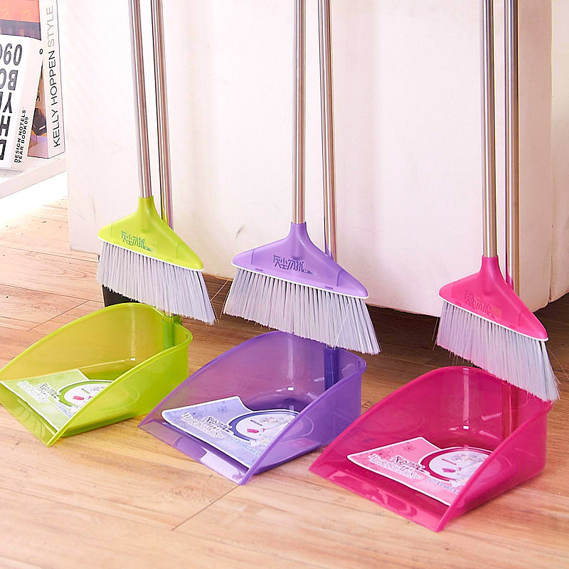 Indoor broom dustpan combination suit household cleaning soft bristle broom dustpan combination of stainless steel pipe(China (Mainland))