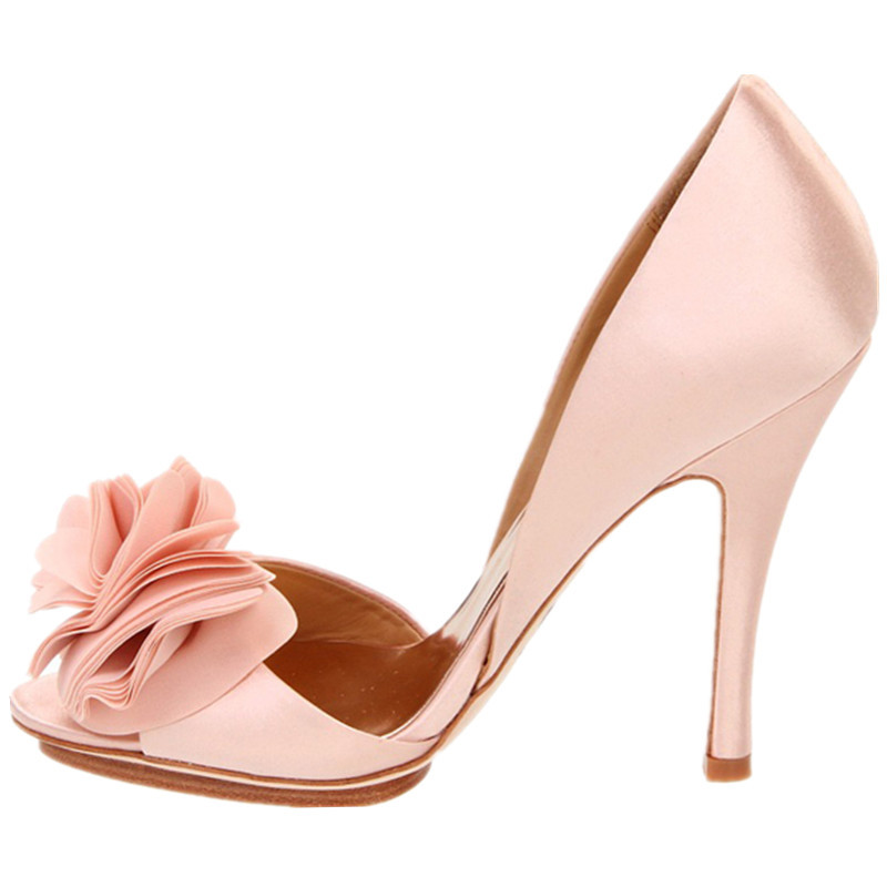 New Flower Female High Heeled Wedding Shoes Pink High Heeled Shoes