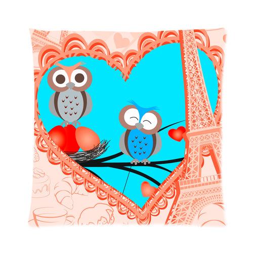 Paris Eiffel Tower Pillow 16 X 16: Design Fashionable Cute Cartoon Owl With Eiffel Tower