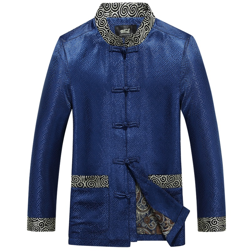 male Chinese tunic suit chinese jacket stand collar tunic suit traditional tang jacket tops men Pankou Chinese tunic suit