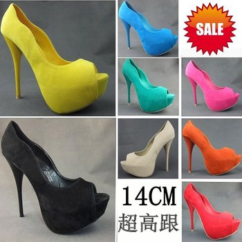 Hot 7 Color 2012 Newest Lovely Women's Peep Toe Suede Sittle High heel Pumps/Sexy Party Heels/Dress Shoes/ Retail and Wholesale