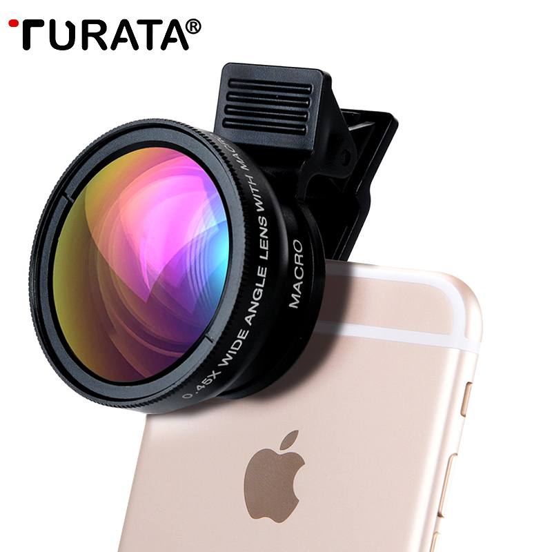 TURATA Phone Camera Lens , 2 in 1 Professional HD Camera Lens Kit [0.45X Wide Angle+12.5X Macro] Clip-on Design for Smartphones(China (Mainland))