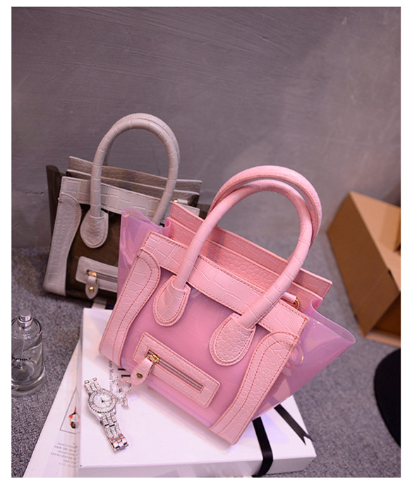 2016 Spring New Office lady Jelly Clear Working Bag Sweet Woman Girl Clear Transparent Shoulder Bag PVC 2 in1 Shopping Handbag(China (Mainland))