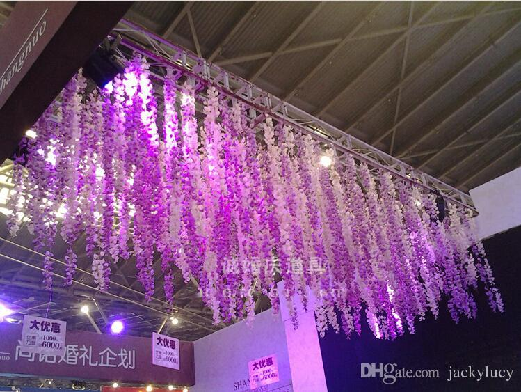 2015 New Elegant White Artificial Hanging Orchids Plants Fake Silk Flower Vine For Wedding Backdrop Party Decoration Supplies(China (Mainland))