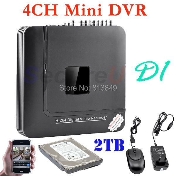 Cheapest 4ch channel cctv security D1 HD DVR network digital video recorder H.264 mini DVR surveillance system 2TB HDD hard disk(China (Mainland))