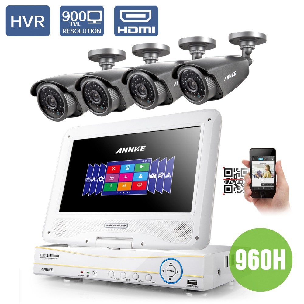 """Annke 10.1"""" LCD 4CH 720P 960H HD DVR NVR HVR 3 IN 1 Network CCTV Surveillance Video With 4 PCS 900TVL Cameras CCTV system(China (Mainland))"""