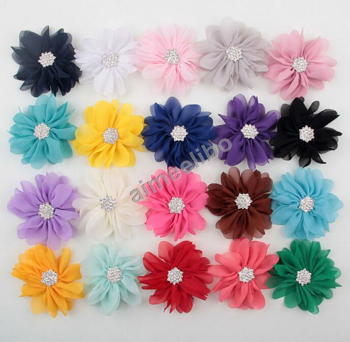 7 cm Wave Age Chiffon Flower With Rhinestone Button Center Hot Sell Hair Accessoies(China (Mainland))