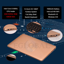 DIY Logo! Competitive Price! Eglobal Laptop  Light Thin Fanless Netbook 13.3inch Screen 7000mAh Battery Max 433M WiF(China (Mainland))