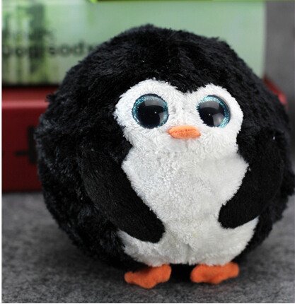 "Beanie Ballz ball animal plush toy doll with big eyes black penguin ball diameter 12CM (4.72"" ) toys gift for children(China (Mainland))"