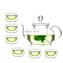 1 glass teapot 600ml+6 double wall tea cups 7pcs/set free shipping