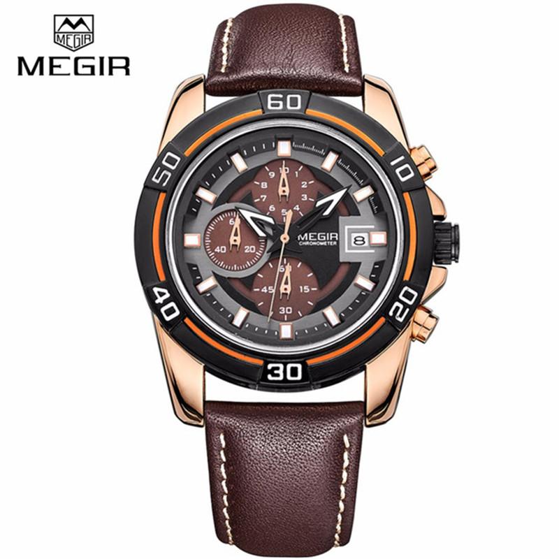 MEGIR Brand Luxury Quartz-watch For Men Sport Watches Leather Strap Waterproof Quartz Watch Clock Male Wristwatches Montre Homme(China (Mainland))