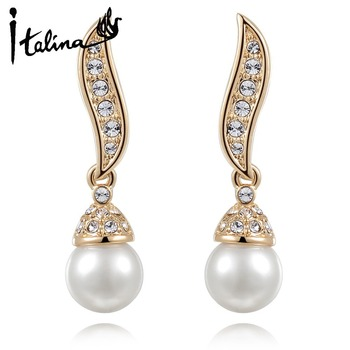 Italina RAG 2014 New Arrival 18K Gold Plated Elegant Drop Brincos With Rhinestone Pearl Jewelry Nickel Free #RA20783