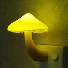 EU Plug Mushroom Wall Socket Light-controlled Sensor LED Night Light Lamp Bedroom Baby(China (Mainland))