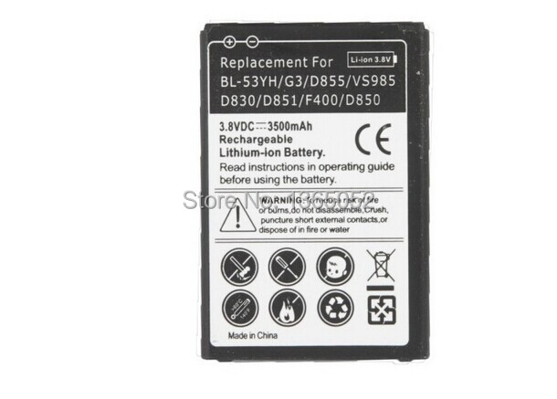 3500mAh Mobile Phone Replacement Mobile Phone Battery for LG G3 / D855 / VS985 / D830 / D851 / F400 / D850