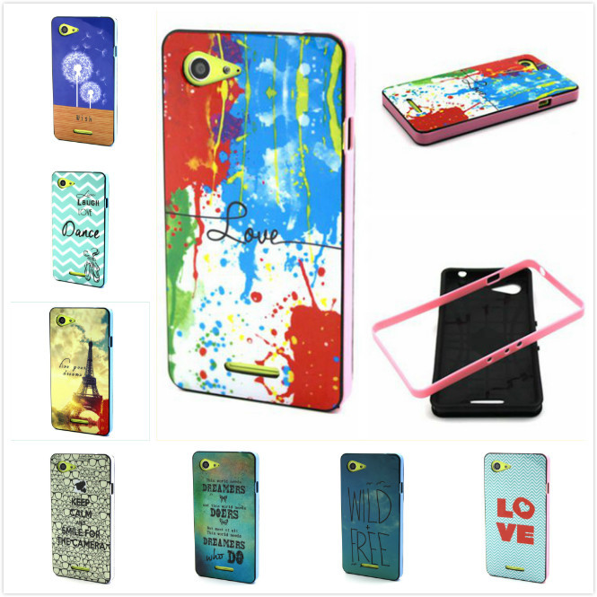 10 styles New Design Bumper + Case 2 IN 1 Fashion Painting Case For Sony Xperia E3 Case Phone Cover Capa()