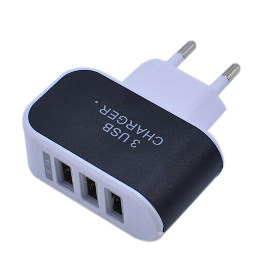 3.1A Triple USB Port Wall Home Travel AC Charger Adapter for S6 EU Plug Jun01