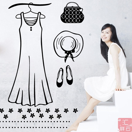 Clothing Store Vinyl Wall Decal Dress Hat Shoes Bag Mural Art Wall Sticker Lady Women Clothes Shop Window Glass Wall Decoration(China (Mainland))