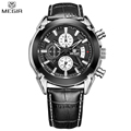 MEGIR Men Chronograph Quartz Waterproof Multifunction Watch Large Dial Leather Slim Watches Fashion Casual Hot Sale