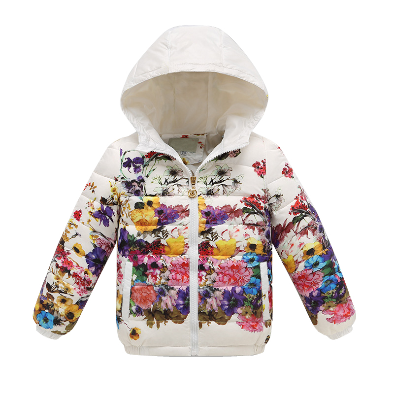 New Winter Down Jacket For Girls 2015 Print Floral Kids Coat Jackets Fashion Children Clothing Clothes Hooded Vetement Fille<br><br>Aliexpress