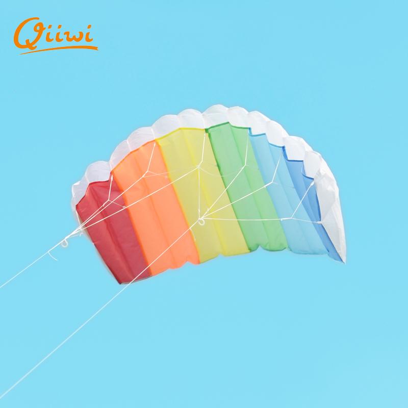 Fun Kite Hot Selling Dual Line Parafoil Parachute Kite With Control Bar Line Power Braid Sailing Rainbow Kite Sports Outdoor()