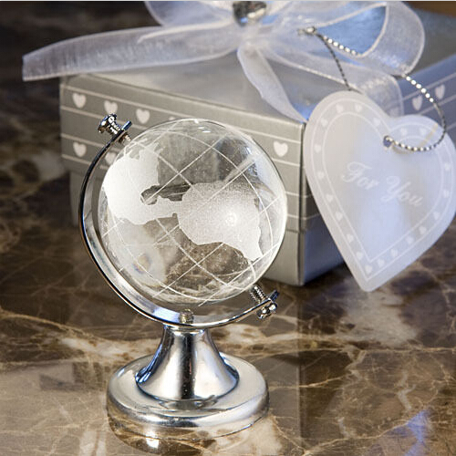 ShanghaiMagicBox 1 Pc World Globe Crystal Glass Clear Paperweight Desk Decor Wedding Favor 41115001(China (Mainland))