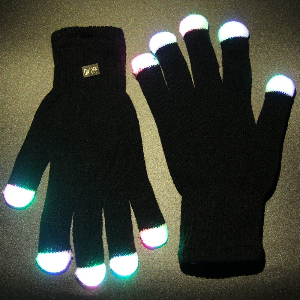 1 Pair LED flash Gloves Rave Light Finger LED flashing gloves for Christmas event party gift(China (Mainland))