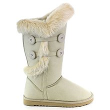 Moda mujer de tacón plano botón at eje conejo Fur mitad de la pantorrilla nieve caliente botas de invierno zapatos de estilo clásico(China (Mainland))