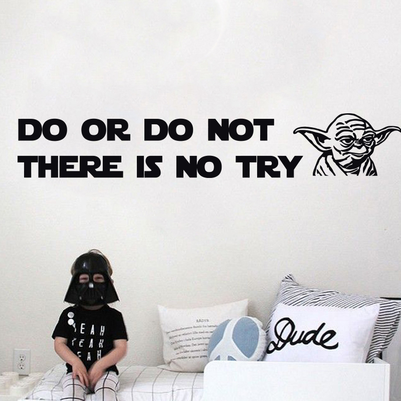 2016 New Design DO OR DO NOT there is no try Yoda Quote Vinyl Decal WALL STICKER Home Decor Art Star Wars DIY home decoration(China (Mainland))