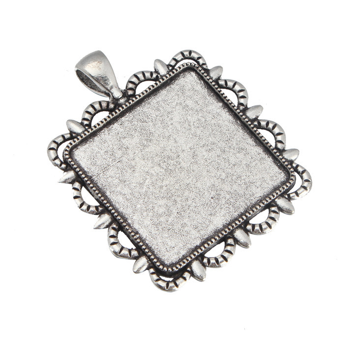 2015 Square Antique Silver Photo Cameo Base Setting 30Pcs Match Inner 30*30mm Flat back Cabochon for Necklace Pendant<br><br>Aliexpress