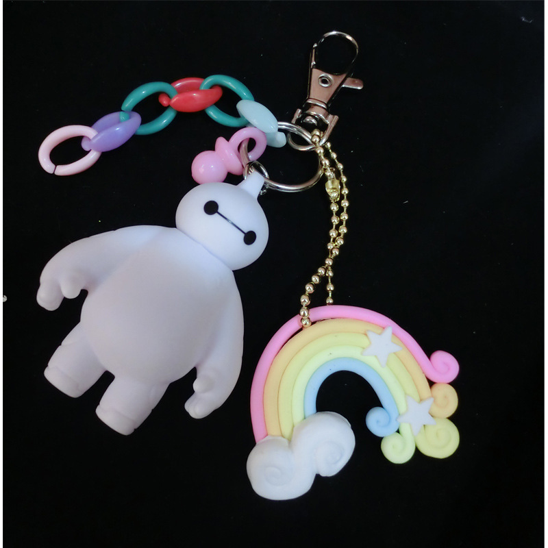 Baymax Keychain Big Hero Silicone Key Unique Funny Rubber Cute Robot Metal Chain Pendant Women Christmas Gift - Ailsa Jewelry store