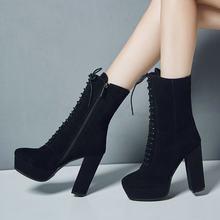 Weiß Schwarz Winter Mid-kalb Stiefel für Frauen Mode Block Ferse Plattform Echtem Leder Stiefel Damen Spitze-up hohe Ferse Stiefel(China)