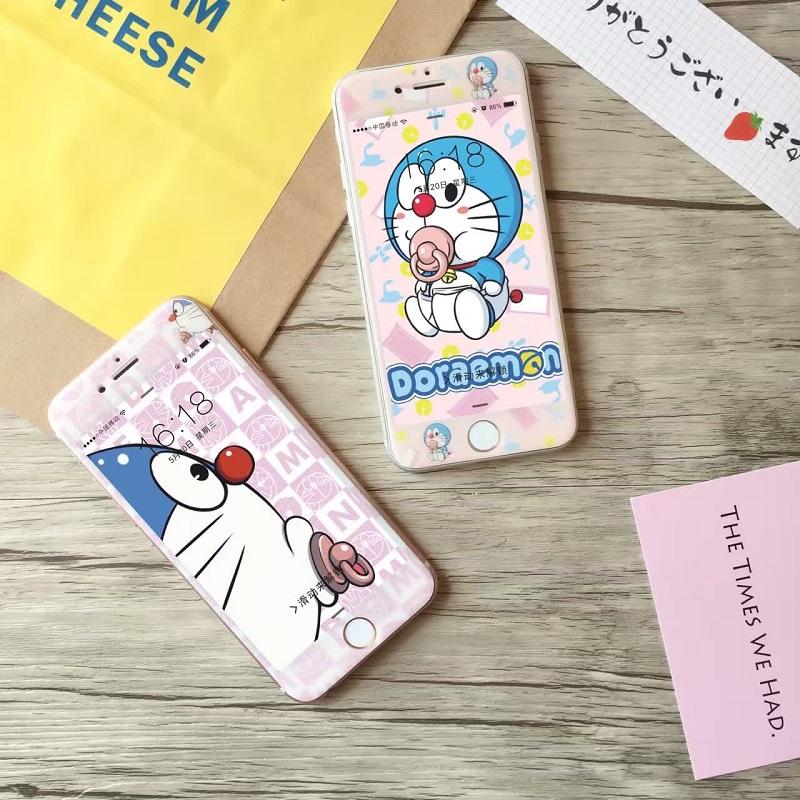 Hot Sale Rushed Tempered Film Anti knock Cute Cartoon Blue Fat cat Dora Pink 3d font