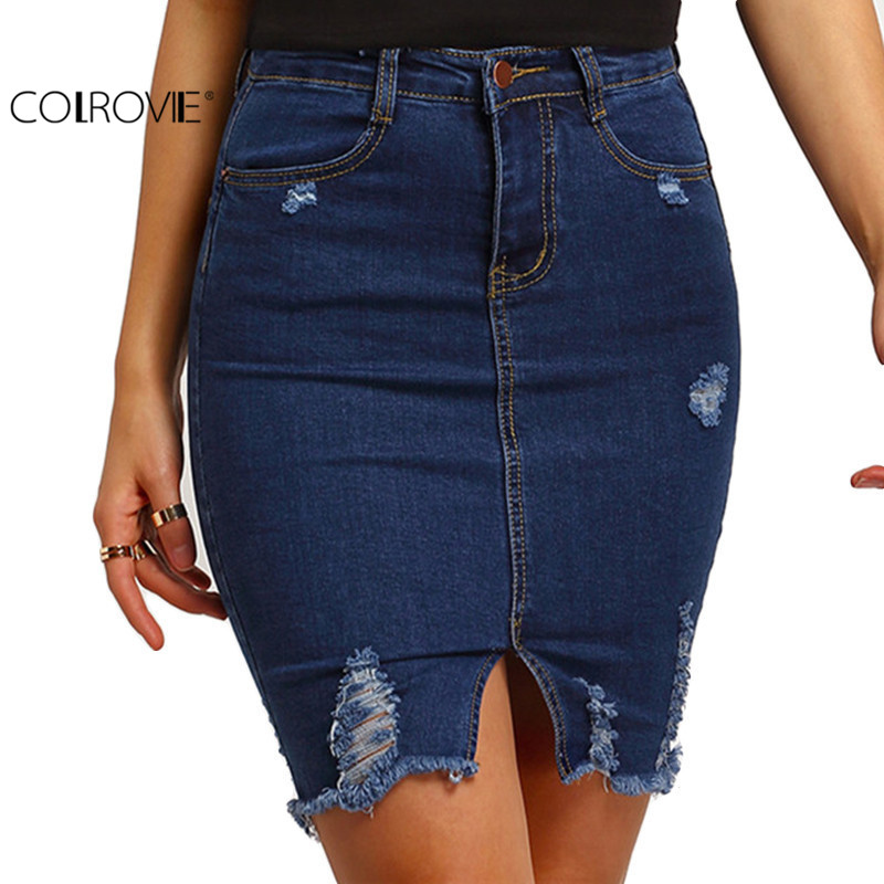 Compare Prices on Denim Split Skirt- Online Shopping/Buy Low Price ...