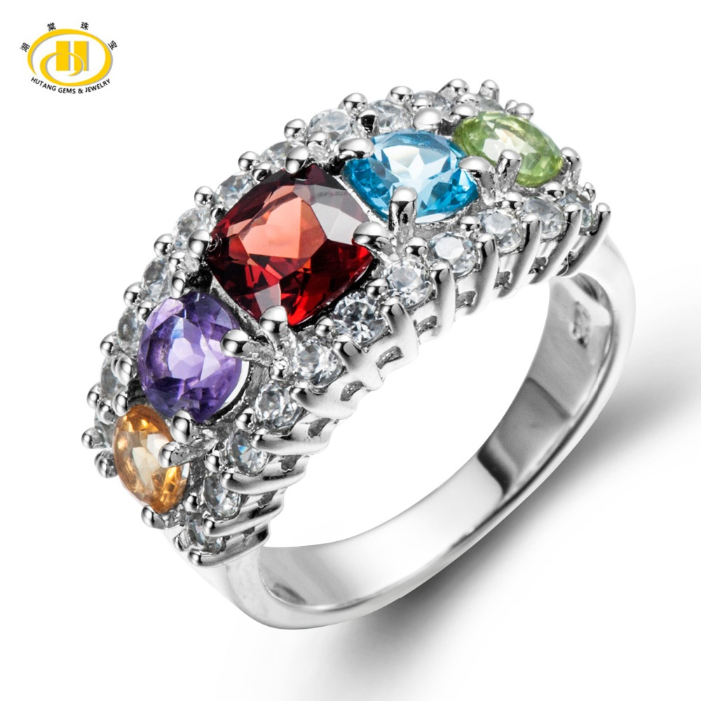 Solid 925 Sterling Silver Genuine Multi Color Gemstones Ring For Women Mothers day Gift Fine Jewelry<br><br>Aliexpress