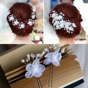 Hot Sale Wedding Bridal Accessory Jewelry For Women,Pearl Hair Pins Lace Flower Hair Clips Bridesmaid Jewelry Free Shipping(China (Mainland))