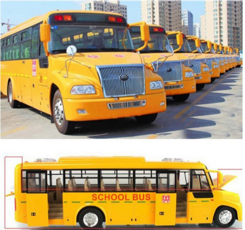 baby toy car model usa big school bus pull back with door music light shining cool high performance electric kids toy child gift(China (Mainland))