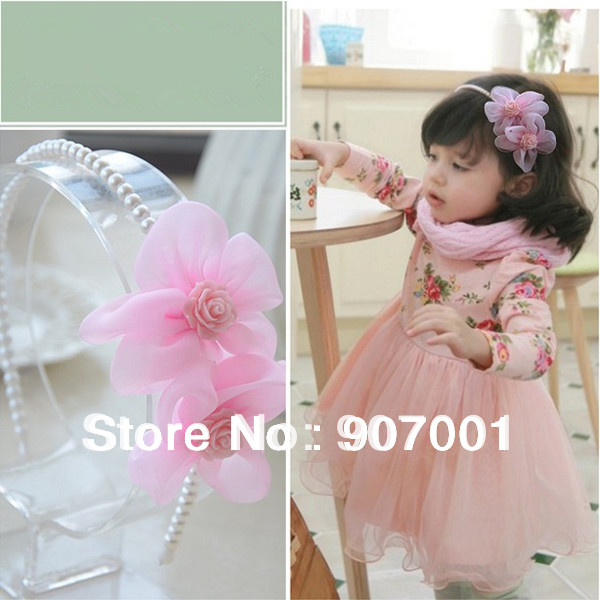 2013 New Kids/Girl/Princess/Baby Pink Pearl Ribbon HeadBand/Hair Accessories Chiffon Pearl Hair Bands XM-171(China (Mainland))