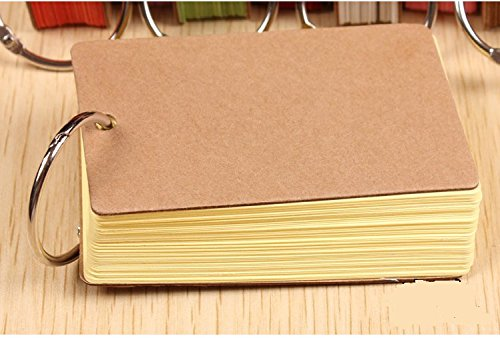 Ring Easy Flip Flash Cards Index Card, 50 Unruled Blank White Pages, 2 Pack (Yellow)(China (Mainland))