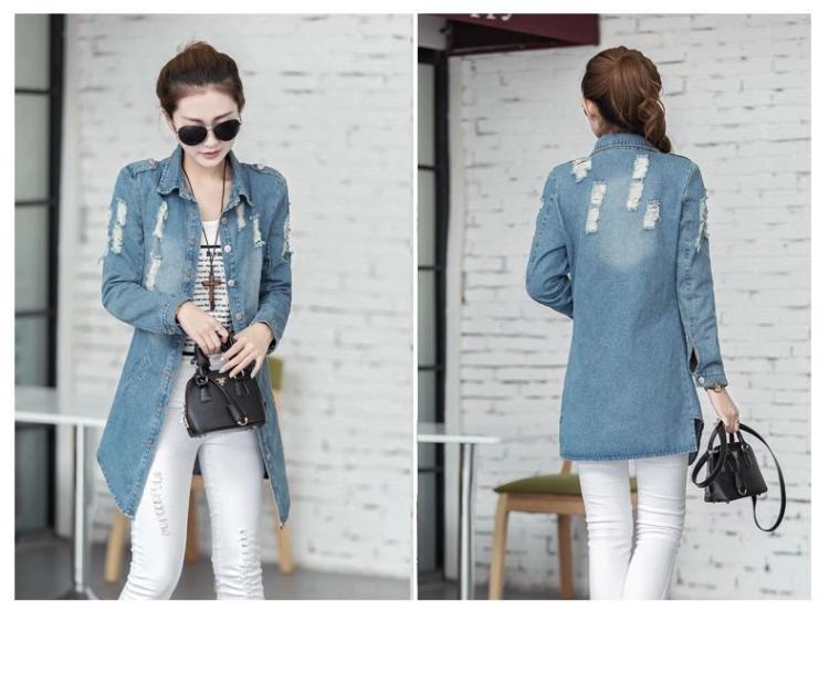Plus Size 3XL Denim Trench Coat For Women 2015 Autumn Winter Fashion Casual Female Long Desigual