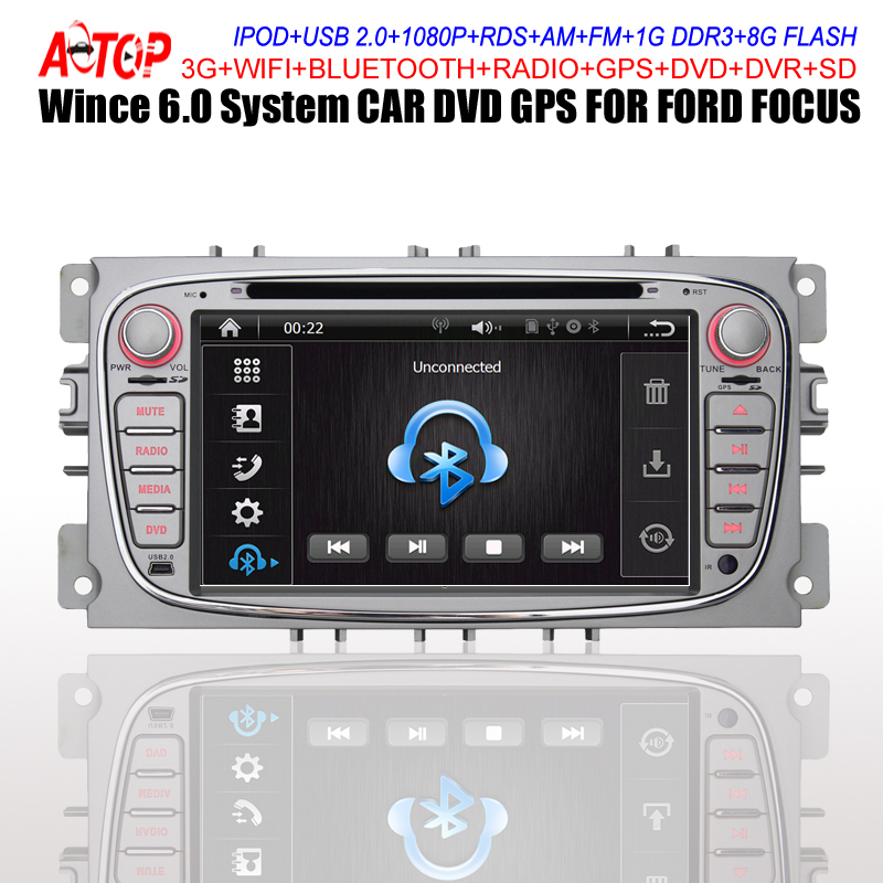 Wince 6.0 CAR DVD FOR FORD FOCUS MONDEO TRANSIT GPS+DVD+FM/AM+RDS+BT+AUX IN/OUT+1080P+USB/SD+Steering Wheel Control+Camera Input(Hong Kong)