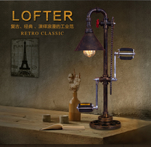 Iron Water pipe Edison bulb lights LOFT vintage lamp Industrial wind style American country personalized innovation Table lamp(China (Mainland))