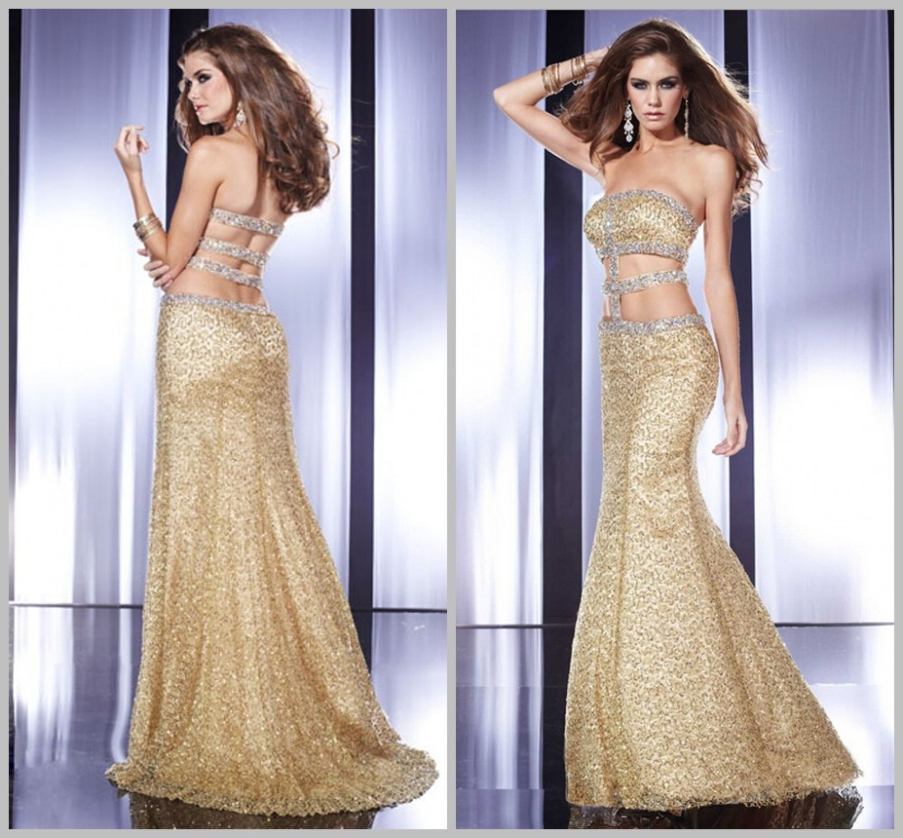 Luxury Elegant New Years Eve Dresses Tops Evening Party Women Gold Gowns Little Mermaid Prom 2015 Bandage Strapless Womens - Stylist JiuJu store