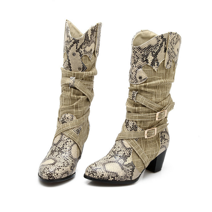 Women's Winter Snow Boots Lady's Western Cowboy Boots Snake Print Mid Calf Snow Boots Shoes Women Botas Mujer Fur Boots