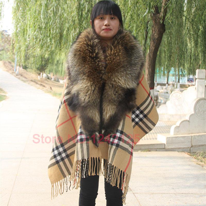 New autumn winter women lady warm outdoor Indoor Luxurious temperament whole raccoon genuine fur Lattice shawls jacket clothing<br><br>Aliexpress