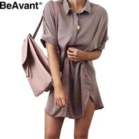 BeAvant Casual side split satin dress shirt women Brief loose short sleeve office dress Sexy straight party summer dress 2016