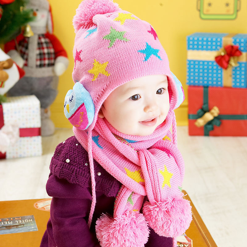 The new children's winter hat owl hat pentacle wool hat sets caps scarves Caps Kids Boy Girl(China (Mainland))